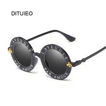 Gafas de sol redondas pequeñas Retro para mujer, gafas de sol de marca Vintage, gafas de sol de Color metálico negro para mujer, gafas de sol de diseñador de moda para mujer