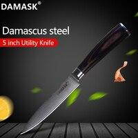 Дамасские Ножи Damask 5 дюймов Многофункциональный кухонный нож цветной деревянной ручкой 73 слоя VG10 японские ножи из дамасской стали режущие и...