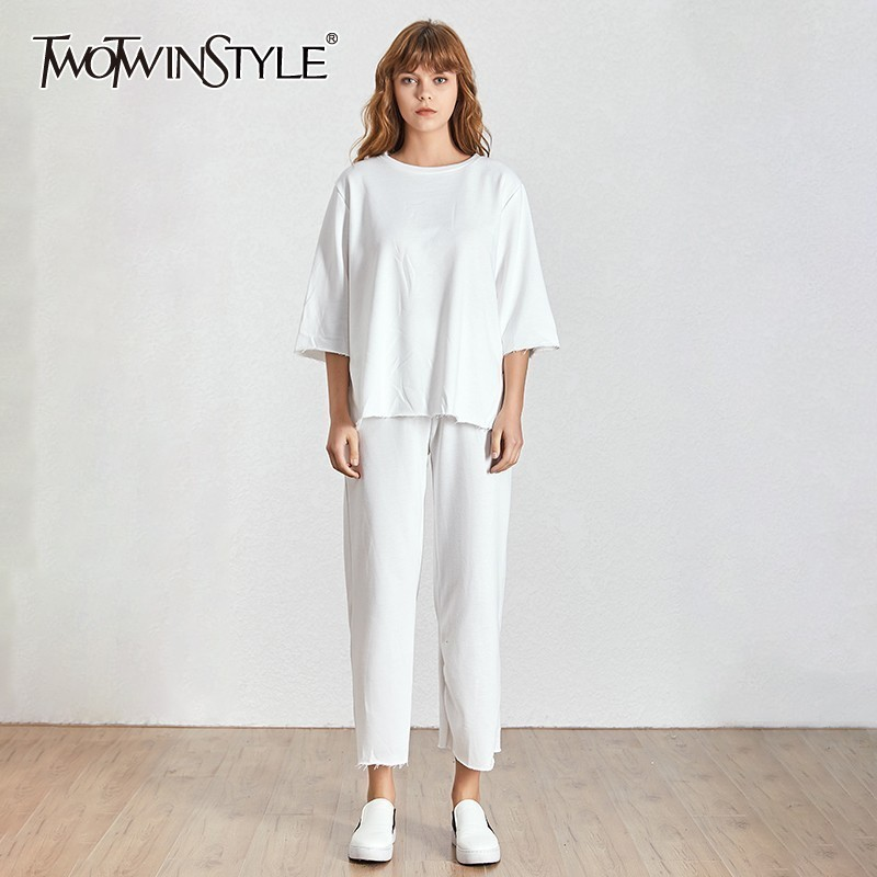 TWOTWINSTYLE Casual Women Suit O Neck Short Sleeve Loose T-shirt High Waist Big Size Wide Leg Pants Female Two Piece Set Summer