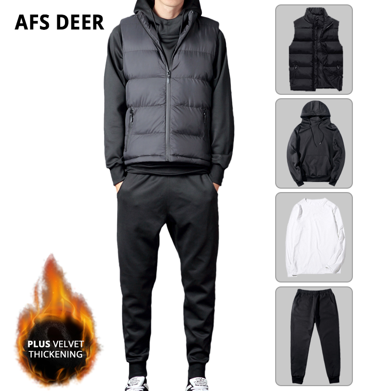 Males Set Winter Thick Fleece Heat Pullover Hooded Sportswear Joggers Sports activities Clothes Tracksuit 3Pcs Informal Jacket Vest Sweatsuit