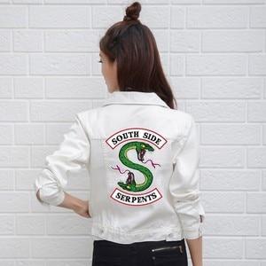 Image 2 - Джинсовая куртка Riverdale женская с надписью «South Side Serpents», уличная одежда, топ из денима, джинсовая одежда в стиле Харадзюку, хип хоп, весна