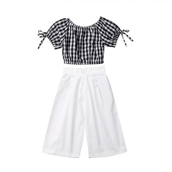 2019 Summer Girls Clothing Set Baby Kids Clothes Suit Children Short Sleeve Plaid T-Shirt Crop Top+Pants roupas infantil meninas 3