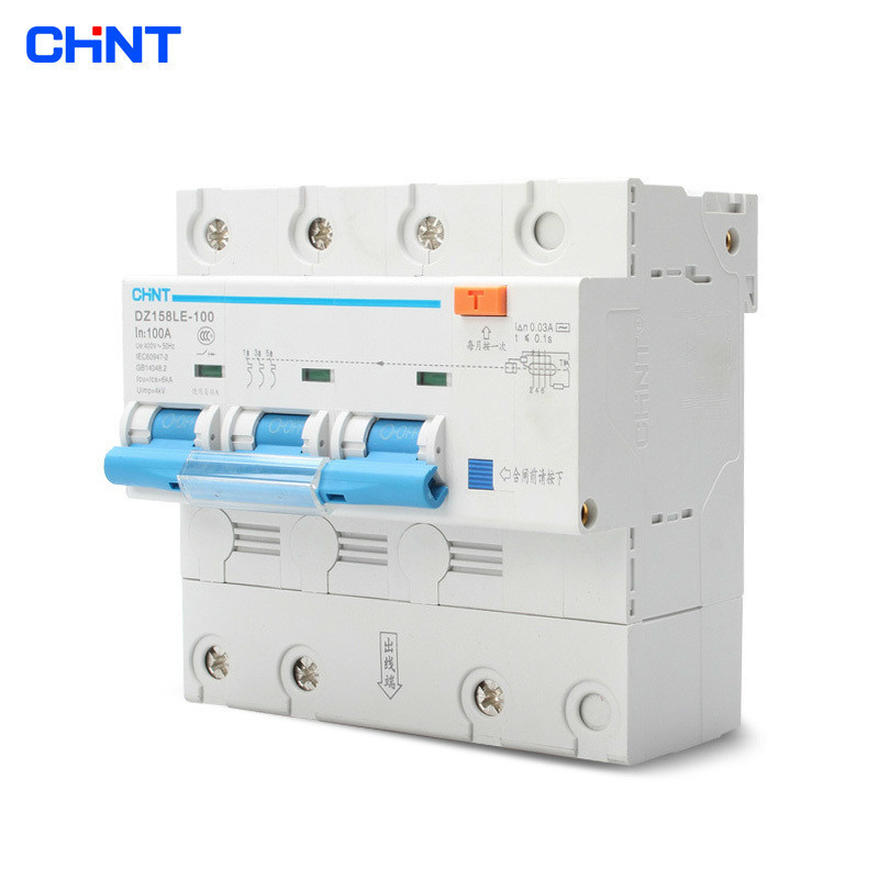 CHNT Leakage Circuit Breakers High Power Home Air Switch Residual Current Circuit Breakers DZ158LE 3P 100ACHNT Leakage Circuit Breakers High Power Home Air Switch Residual Current Circuit Breakers DZ158LE 3P 100A