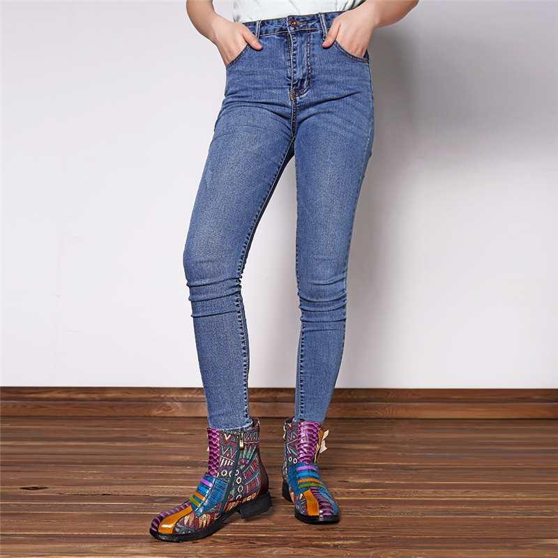 Socofy Retro Ankle Boots Women Handmade Flower Genuine Leather Splicing Bohemian Western Boots Zipper Warm Lining Winter Shoes