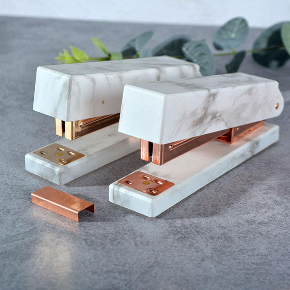 Elegant Marble Pattern Stapler Heavy Duty Desktop Spring Powered Stapler For Home Office Bookbinding Supplies R20