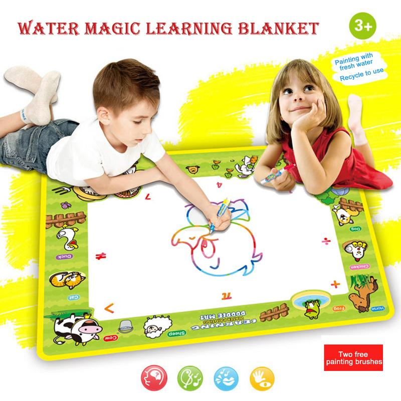 Rainbow Water Drawing Mat Cloth+2 Pen Happy Farm Magic Water Doodle Mat Coloring Books Painting Rug Xmas Gift For Kids