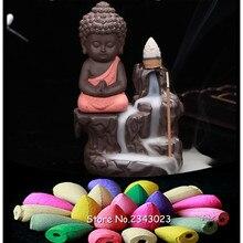 20 шт. натура благовония конусы+ маленький монах кадило в виде маленького Будды обратного потока благовония горелки использовать в домашнем офисе Teaho использовать домашний декор