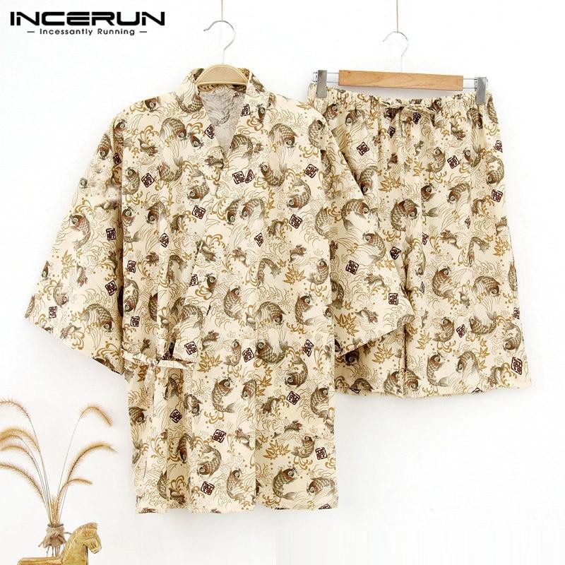 INCERUN 2019 Print Men Pajamas Sets Japanese Kimono Suit Comfortable Short Sleeve Tops Shorts Men Lounge Sleepwear Sets Homewear