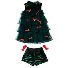 6d0310a87dfd Christmas Trees Dress Set Green Sleeveless Sexy Halter Stage Performance Clothes  Xmas Party Costumes for Girls