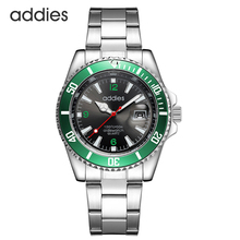 Addies Stainless Steel Mens Dive Watch Water Resistant 50 Meters Quartz Movement Blue Luxury Business Wrist Watch