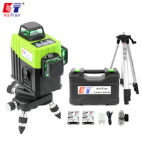 KaiTian 12 Lines 3D Cross Line Laser Level Tripod Self Leveling 360 Vertical & Horizontal Green Beam USB Charge & Li ion Battery