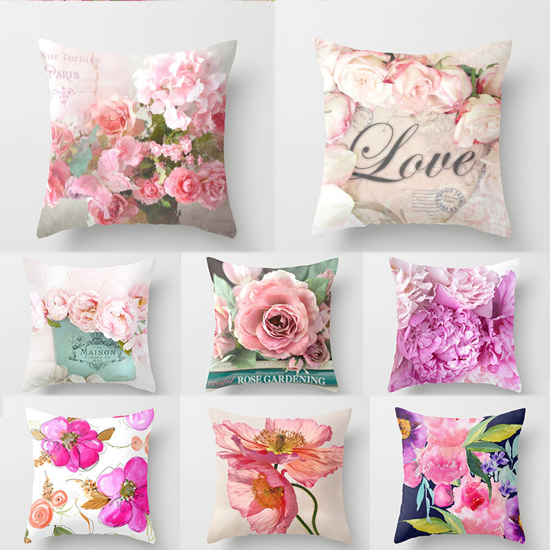 Pillow Case Popular For Throw Pillow 1PC Rose Flower Euro Style Hot Sale Mediterranean Style