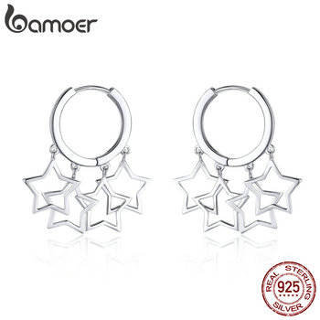925 Sterling Silver Round Circle Shimmering Star Earrings
