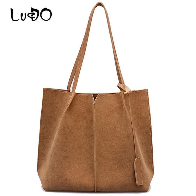 LUCDO High Quality Women Suede Handbags Soft Leather Women Bag  2PCS Handbags Set Female Shoulder Bags Large Casual Tote Bags