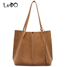LUCDO High Quality Women Suede Handbags Soft Leather Women