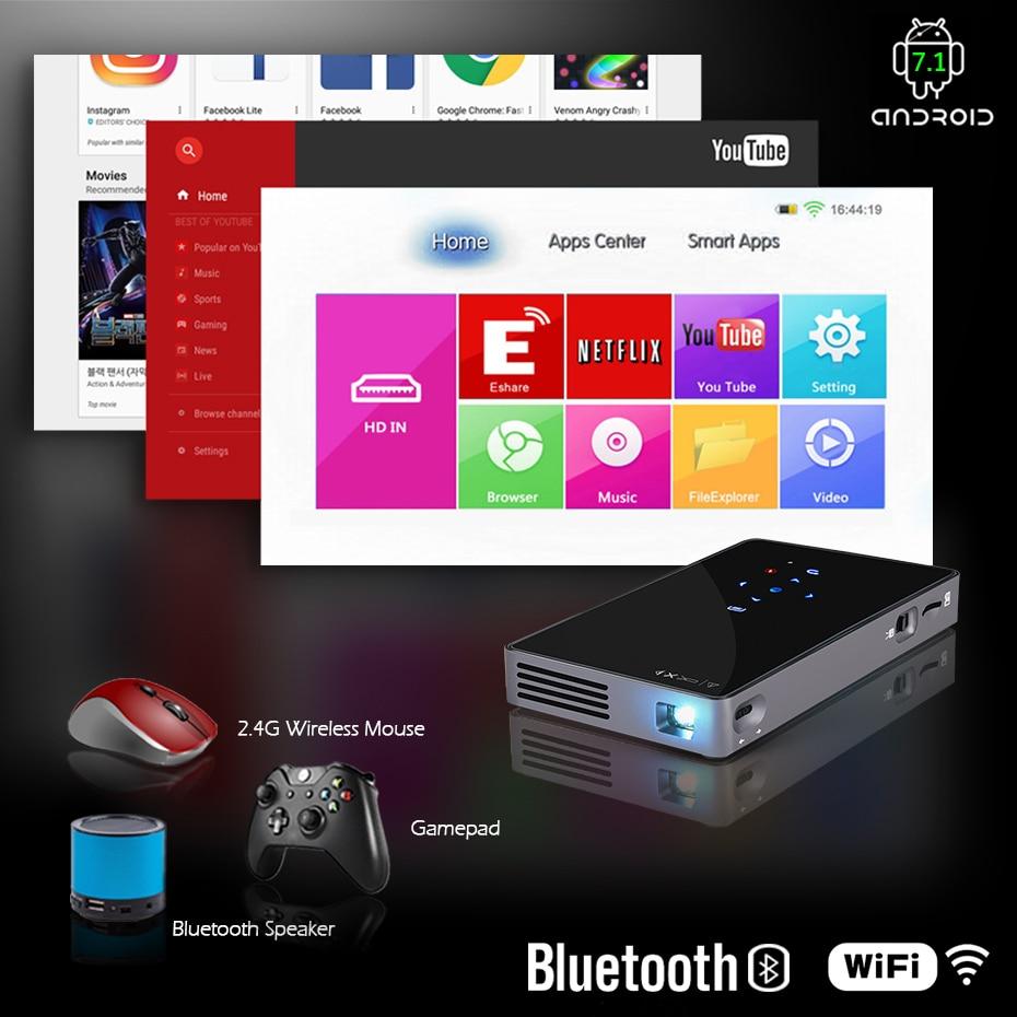 AUN MINI projecteur D5S, Android 7.1 (facultatif 2G + 32G) WIFI, batterie 5000 mAH, projecteur à LED portable pour vidéo 1080 P, projecteur 3D - 3