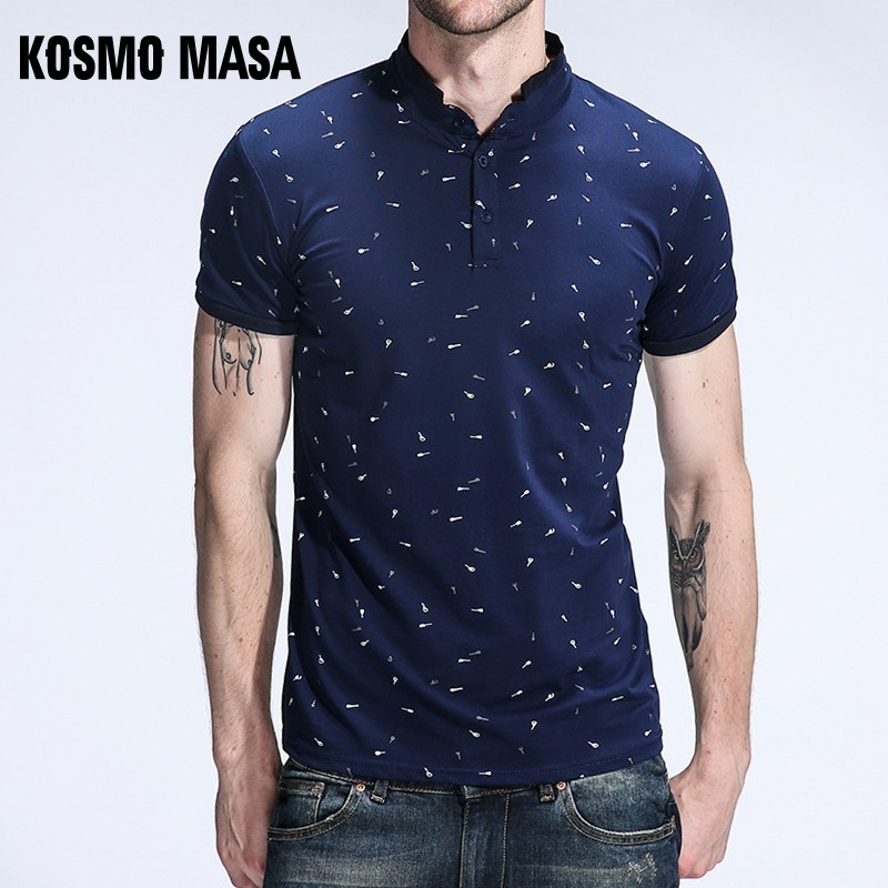 KOSMO MASA Casual Slim Fit   Polo   Shirt Men Cotton Short Sleeve Collar Mens   Polo   Shirts Summer Top Male   Polo   Shirts For Men MP0005