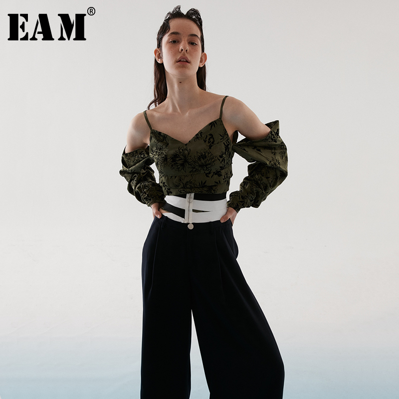 [EAM] 2019 New Spring Summer V-collar Sleeveless Green Pattern Off Shouler Personality   Tank     Tops   Women Fashion Tide JR4280