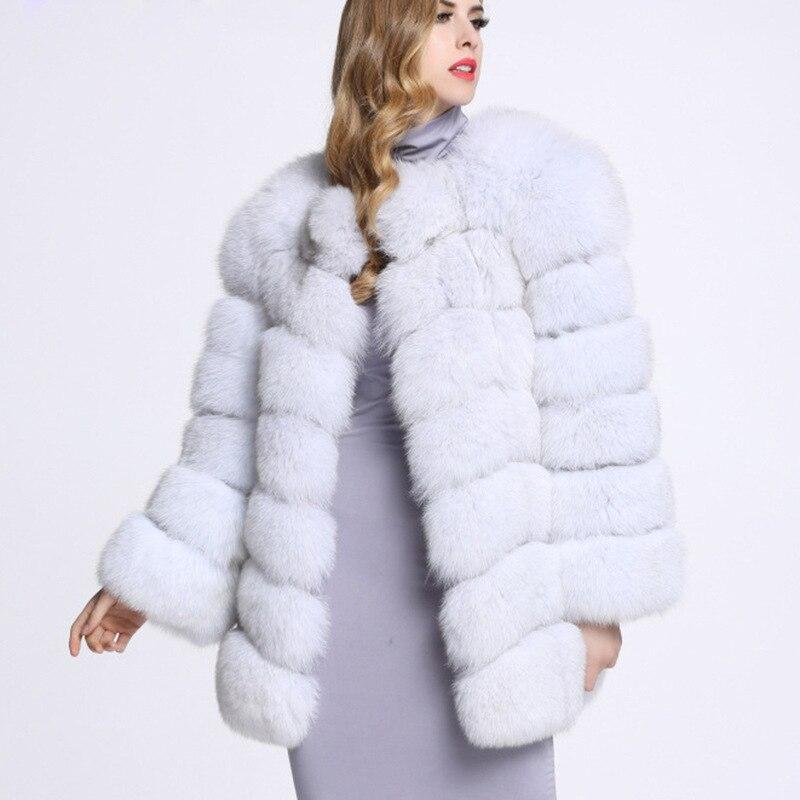 Femmes Dames Une Et Tempérament Nouveau 2018 Renard De D'hiver Imitation Automne Fourrure Manteau Femelle Longue noir Blanc RgPpc