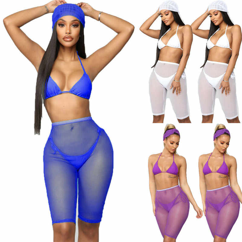2d06e75bc6 Sexy Women See-through Shorts Bikini Cover Up Mesh Solid Sheer Trousers  Bottoms Swimsuit Swimwear