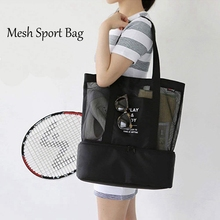 2 in 1 mesh beach zipper pocket with integrated cool bag, in