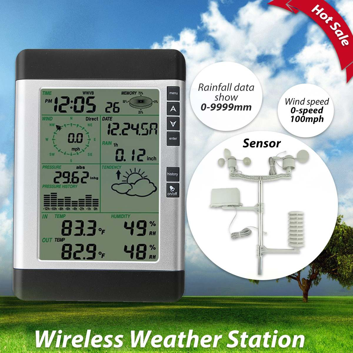 USB Wireless Household & Weather Station LCD Thermometer Hygrometer Forecast Sensor Barometric Pressure Weather Forecast Clock