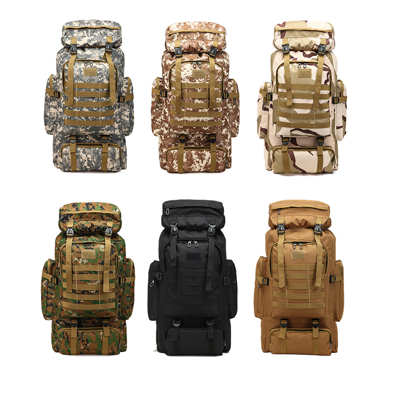 80L Waterproof Camo Tactical Backpack Military Army Hiking Camping Backpack Travel Rucksack Outdoor Sports Climbing Bag