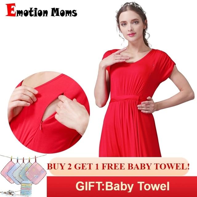 48a31fba46bce Emotion Moms long Maternity Nursing Dress for pregnant women Summer Nursing  Clothing Soft pregnancy Breastfeeding Dresses. Mouse over to zoom in