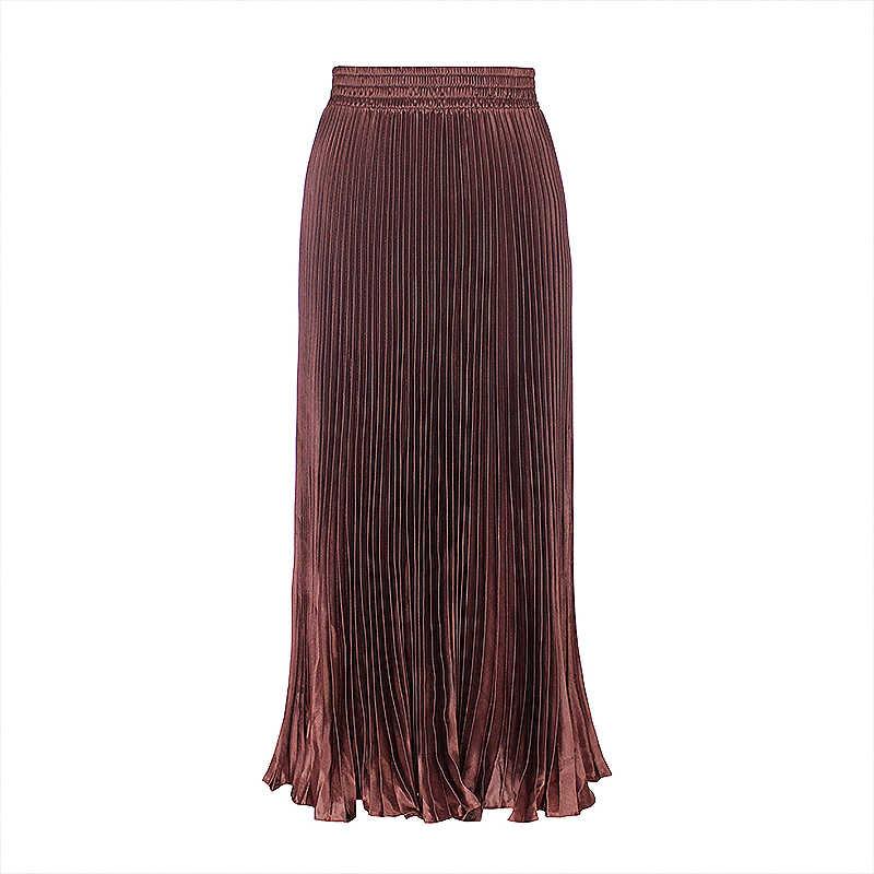 b212f8d85 Wipalo Korean Satin Silk Pleated Skirt Women Solid Color Vintage Midi Skirts  Elegant High Waist A