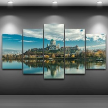Canvas Paintings Wall Art Framework Living Room Home Decor 5 Pieces Castle Lake Landscape Paintings Pictures HD Prints Posters modular canvas hd prints paintings home decor 5 pieces fishing rod pictures lake fishing posters living room wall art framework