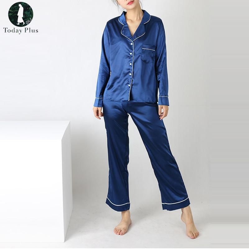 Women Silk Nightwear Sleepwear Casual Loose Pajamas Loungewear Pajama Set Long Sleeve Two-Piece Cardigan Suit Silk Pajama Sets