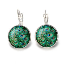 2019 New Bohemia Glass Cabochon Peacock Big Earring Women Fashion Ethnic Green Round Ear Pendant Dangle Earrings Brincos Jewelry(China)
