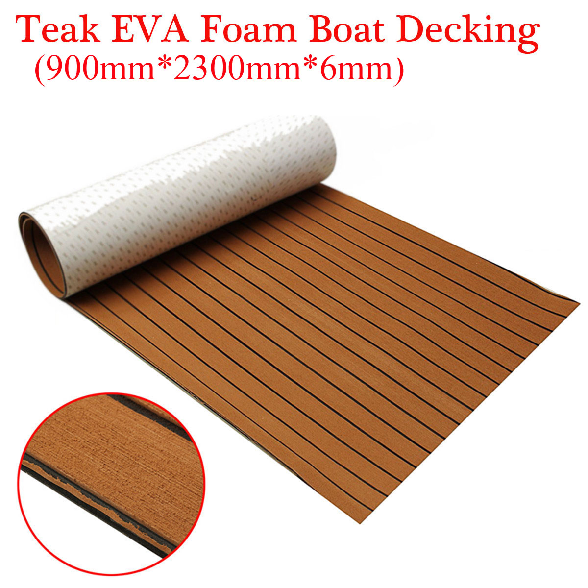 900x2300x6mm Self-Adhesive EVA Foam Teak Brown With Black Line Faux Teak Boat Decking Sheet