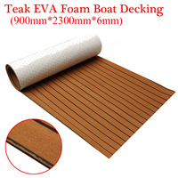 900x2300x6mm Self Adhesive EVA Foam Teak Brown With Black Line Faux Teak Boat Decking Sheet