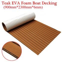 Espuma de EVA autoadhesiva de 900x2300x6mm, teca marrón con línea negra, Hoja para cubierta de barco de teca falsa