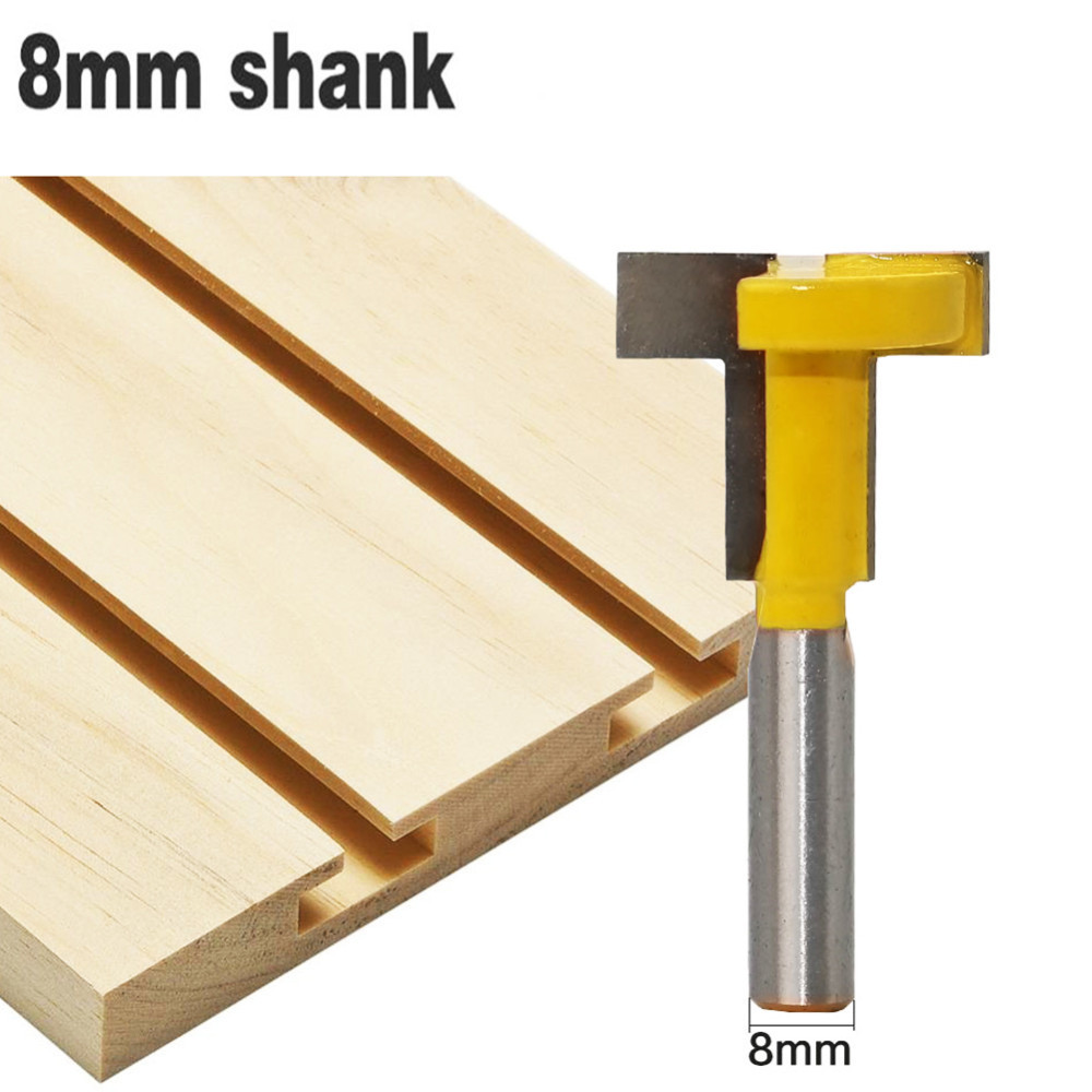 1PC 8mm Shank Carbide Alloy Wood Router Bit Straight End T-Type Slotted Milling Cutter Woodworking Tool For Wood Trimming Cutter