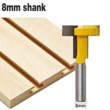 1PC 8mm Shank Carbide Alloy frezarka do drewna Bit prosto koniec t type szczelinowe frez narzędzie do drewna do drewna przycinanie frez