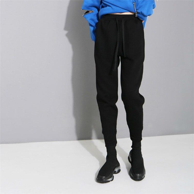2019 Sprign and autumn new warm pants plus velvet thick slim Korean harem pants wild high waist casual pencil pants women 531