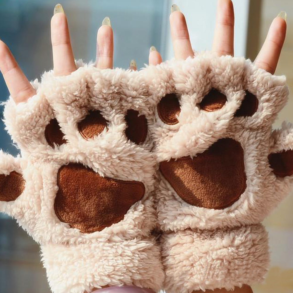 Women Winter Fingerless Gloves Fluffy Bear Cat Plush Paw Claw Half Finger Glove Soft Half Covered Women Female Gloves Mittens