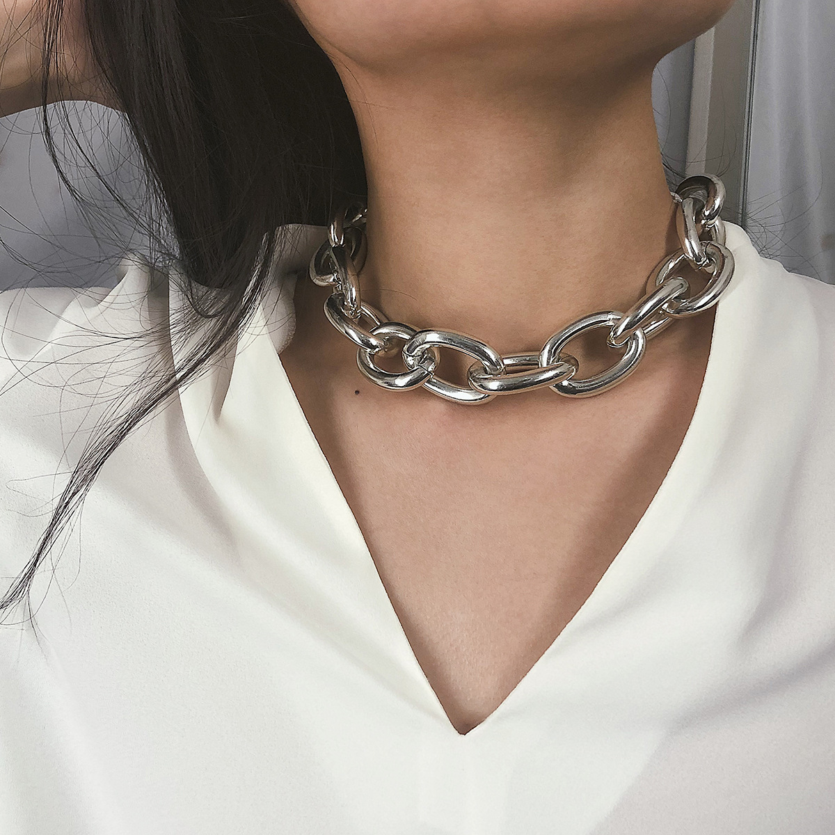 KingDeng Link Chain Retro Exaggerated Punk Metal Item Necklace Female Simple Chain Geometric Personality Necklace Shackles New(China)