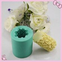 DIY Moulds Valentine Day 3D Candle Making Cylinder Flower Wedding Rose Craft Art Handmade Soap Mould Silicone Candle