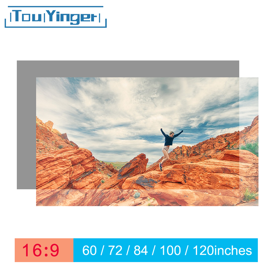 Touyinger 16:9 High Brightness Reflective Projector Screen 60 72 84 100 120 130 inches Fabric Cloth Screen for Espon BenQ XGIMI