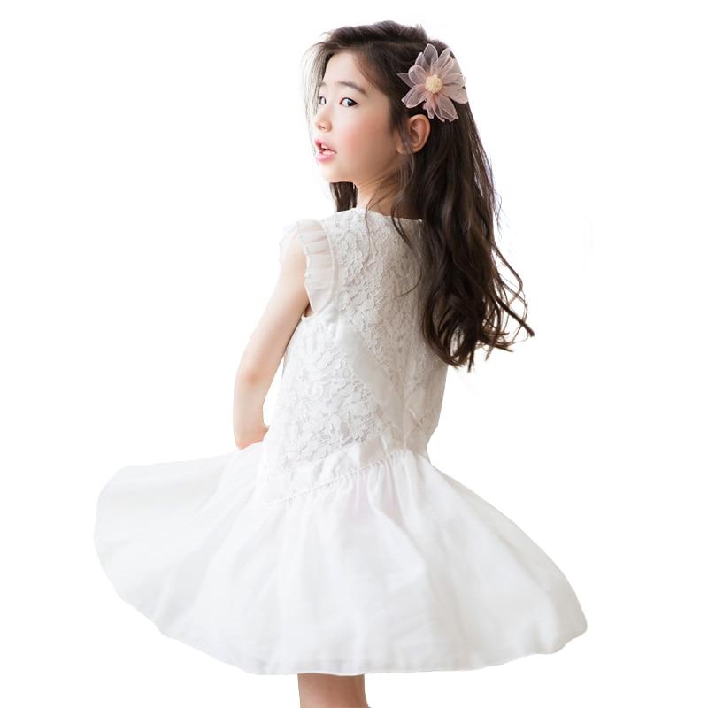 hot sale online a7372 7d381 2019 nuovo sleeveless di estate del vestito di pizzo bianco  dell'increspatura della principessa costume di età per 4-14 anni ragazze  adolescenti di ...