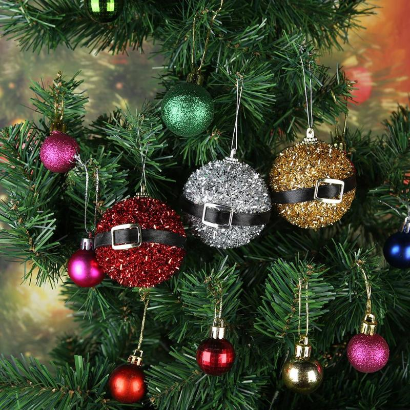8cm Glitter Christmas Baubles Xmas Tree Ornament Hanging Ball Decor Gift 9pc
