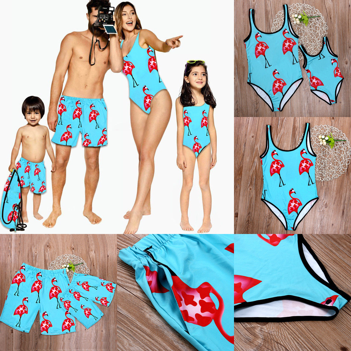 Flamingo Print One Piece Bikini Family Matching Swimwear Mother Daughter One Piece Swimsuit Father Boys Shorts
