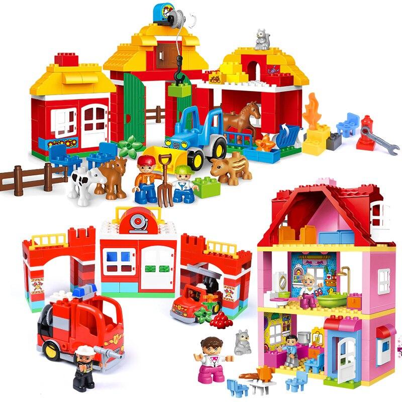 Big Size Holiday Farm Duploe Building Blocks Blocks Toys Compatible Legoed Duplo Blocks Toys Secret House Toys For Children