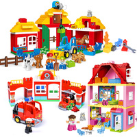 Big Size Holiday Farm Duploe Building Blocks Blocks Toys Compatible Legoed Duplo City Blocks Toys Secret House Toys For Children
