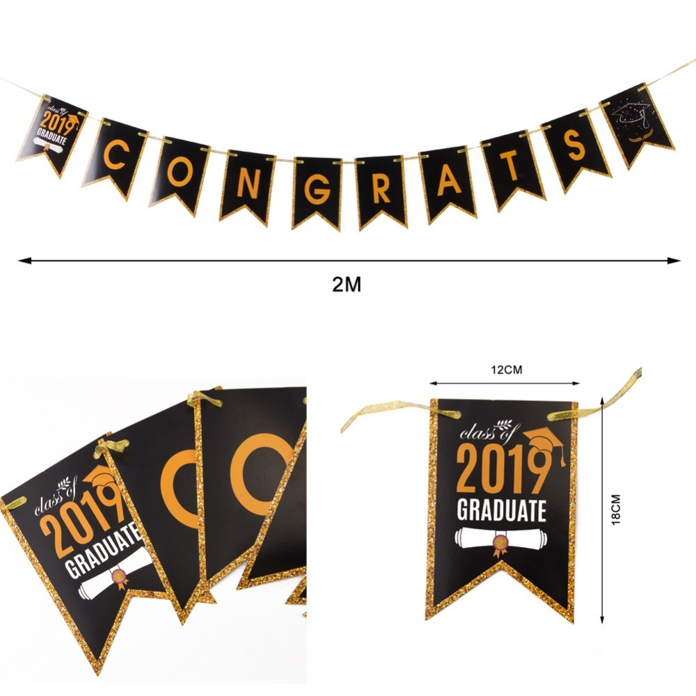 Graduation Party Supplies 2019 Congrats Class of 2019 Banner High School College 2019 Prom Party Decorations in Party DIY Decorations from Home Garden