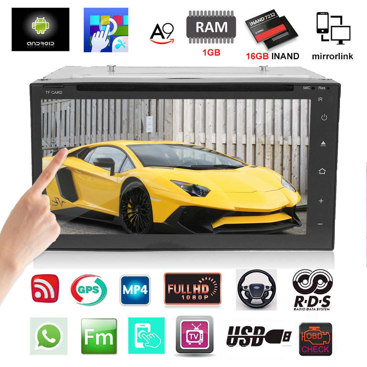 Android 5.1 bluetooth WIFI Car DVD Autoradio 2 DIN Radio Universal GPS Navigation 3G Multimedia MP5 Player Video Audio Stereo