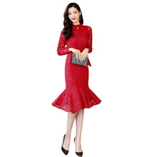 c80ee2399f4f New 2019 Spring Fashion Women dress Hollow Out Lace Slim Embroidered Dresses  Black Bright Red Blue-gray Purple Powder 1911